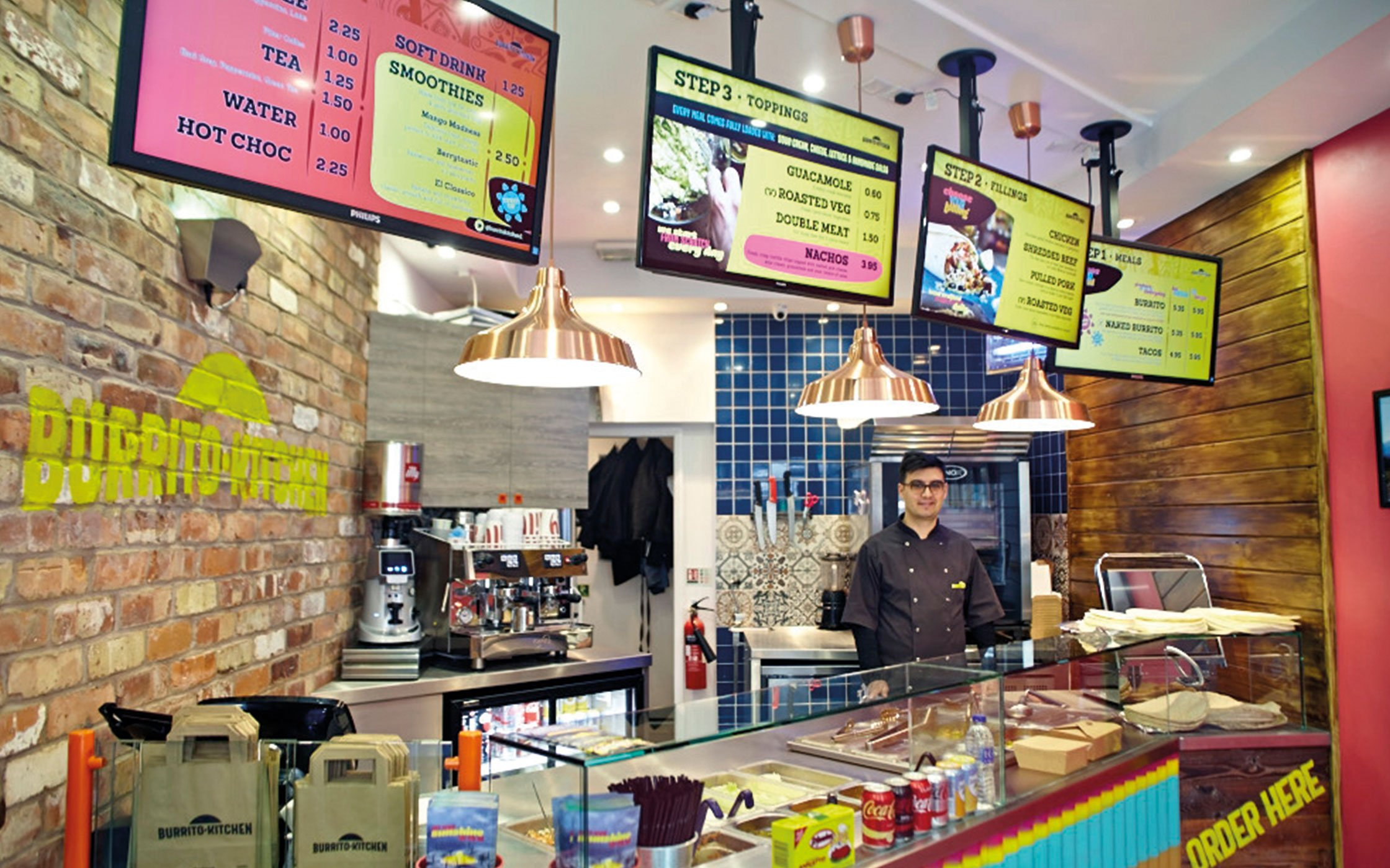 Branded menus and interior space for Burrito Kitchen