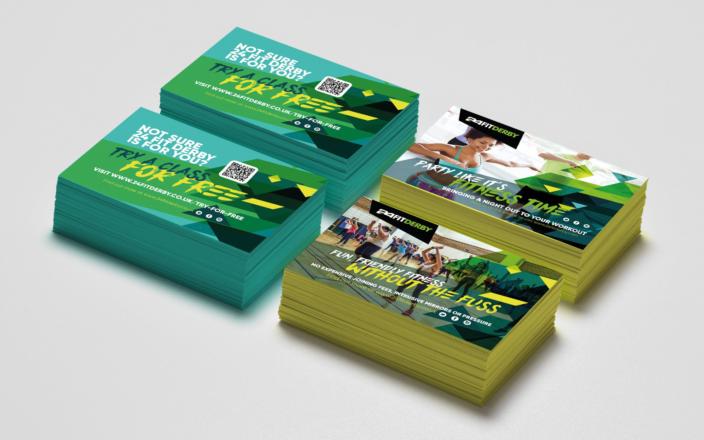 Business cards designed for 24 Fit Derby