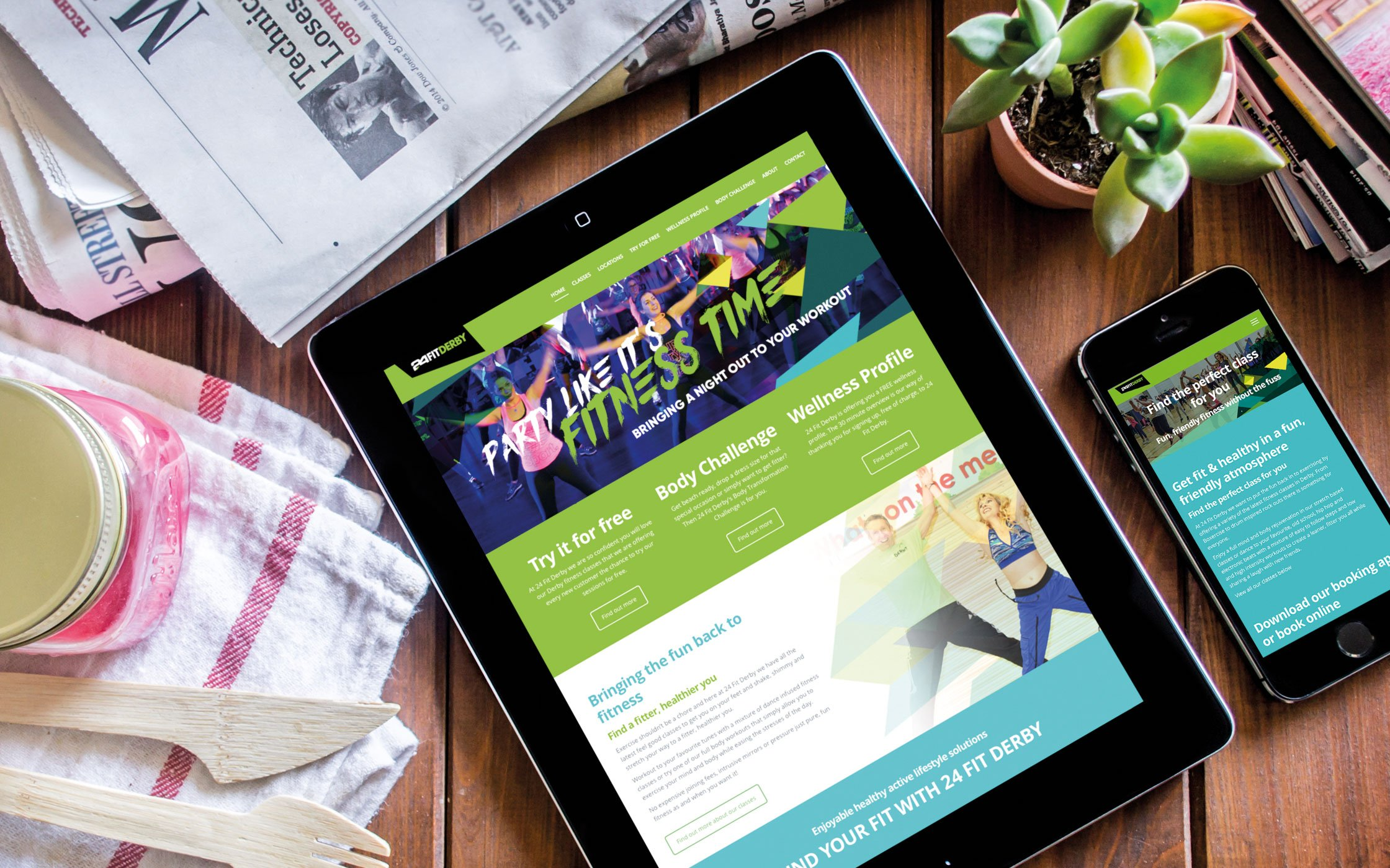 Responsive website developed for 24 Fit Derby