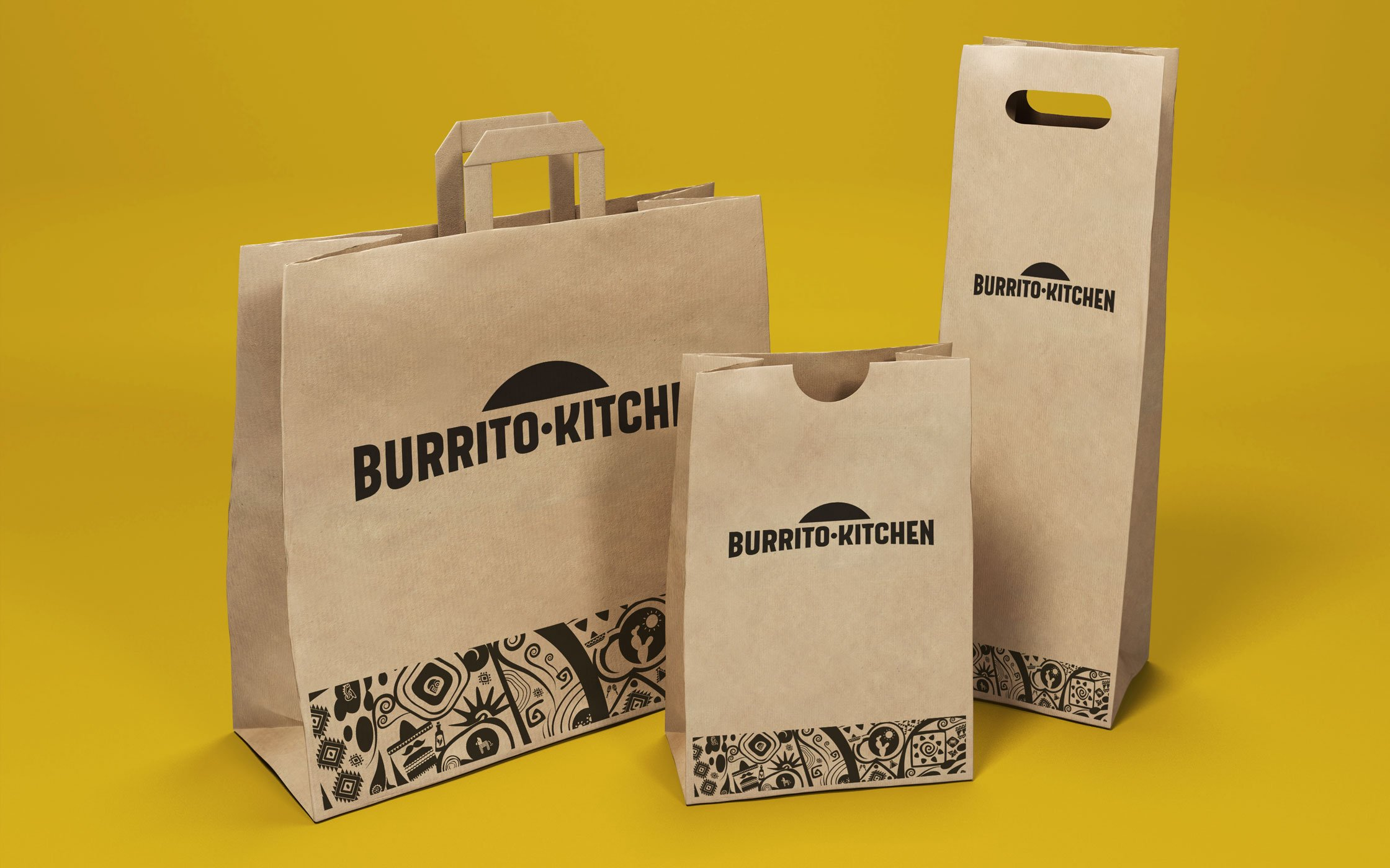 Take away packaging for Burrito Kitchen